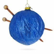 Yarn Ball and Sticks Glass Christmas Ornament