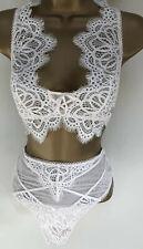 Beautiful Cream Lace Bralatte Set Pants Victorias Secret Extra Small XS Bra