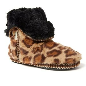 Dearfoams Beth Brown Leopard Furry Foldover Boot Slippers - Women's 9/10