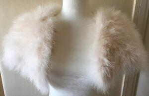 COAST FEATHER Fur Jacket Shrug Bolero Cream/Ivory Size M/L 10/12/14