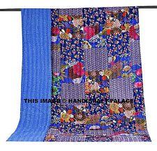Blue Color Floral Patchwork Kantha Quilt Reversible Bedspread Indian Blanket