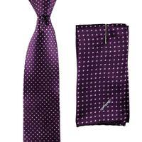 $200 New DOLCEPUNTA Purple Pink Love Heats Silk Tie & Handkerchief Set