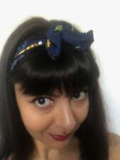 Bandeau foulard cheveux rigide cordon maléable bleu à ananas coiffure pinup