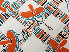 Best Vintage Feedsack Quilt Fabric 40s Novelty Sombrero Plaid Flour Full Sack