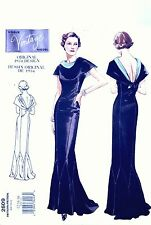 Vintage années 30 VOGUE original 2609 dessin mariage evening dress sewing pattern