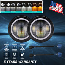 "2X 7""INCH 600W LED Headlight Hi/Lo Beam Halo Ring DRL For Jeep Wrangler CJ JK TJ"