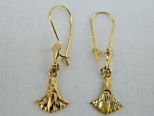 "Egyptian Double Lotus Flower 18K Yellow Gold Earrings 1.25""    #11"