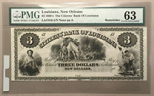Citizens Bank Of Louisiana- 3 Dollars - CU - New Orleans - Remainder
