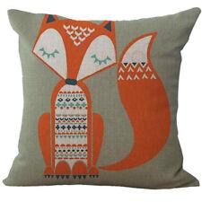 18'' Cute Fox Cotton Linen Pillow Case Cushion Cover Fashion Home Sofa Decor