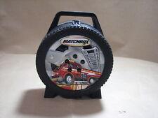 Matchbox toy car carrier case wheel shaped with firetruck design
