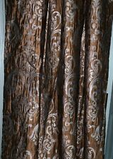 "Silky Satin Brown, Aqua Wrinkle Custom Lined French Country Style Drape. 50""x99"""
