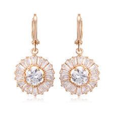 Womens Earings Gold Filled Flower Crystal Ear Dangle Hoop Earrings Earings