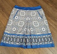 Womens Ann Taylor Petites Knee Length Skirt Size 0 Petite Blue White Cotton