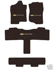 Tahoe (15-17) Floor Mat Set Cocoa with Logo on all 3 4 pce for SUV with 3rd row