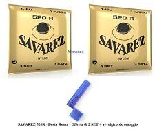 2 SAVAREZ 520R Rossa 2 SET DI CORDE IN NYLON PER CHITARRA CLASSICA SILVER WOUND+