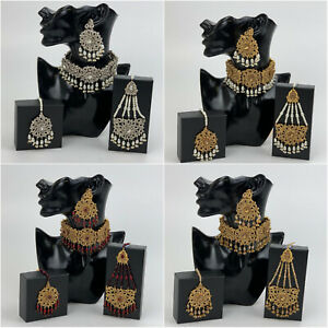 Choker Necklace With Earrings Maang Tikka & Jhoomar Set Bridal Jewellery Wedding