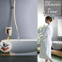 Wall Mount Waterfall Shower Tub Faucet Mixer Safety Grab Bar Embedded Box Mixer