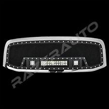 06-08 Dodge RAM Rivet Black SS Mesh Grille+Chrome Shell+2x LED+1x LED Light Bar