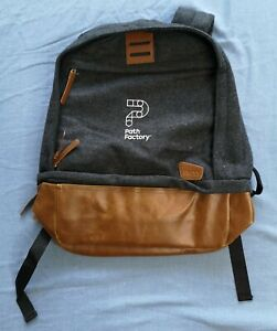 Field & Co Grey Brown Faux Leather Backpack School Bag New With Defects