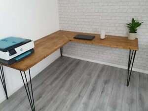 Bespoke Wooden Corner Desk with Hairpin Legs
