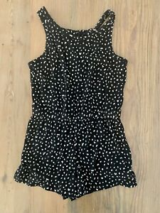 NEW Old Navy Girls black spotted romper Size M 8