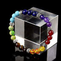 7 Gemstone Crystal Chakra Lava Stone Reiki Amethyst Beaded Bracelet Bangle