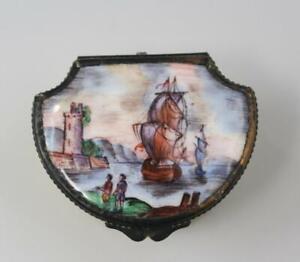 18C English George III Battersea Bilston Yellow Enamel Box w/ Seascape & Ships