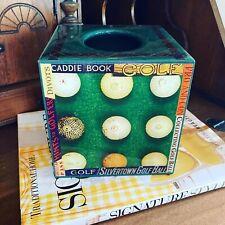 New listing Annie Modica Green Tissue Box Cover Golf balls clubs scene bathroom office