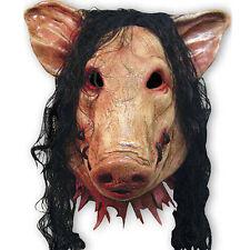 Halloween Creepy Animal Props Latex Party Unisex Scary Pig Head Mask+Hair Helmet