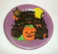 Vtg Halloween Paper Plates Black Cats Jack-O-Lantern Pumpkin Purple 8 Count