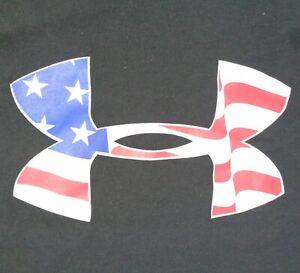Under Armour Mens 2XL Black USA Heat Gear Patriot July 4th American T Shirt
