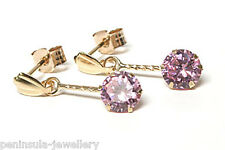 9ct Gold Pink CZ round Drop earrings Made in UK Gift Boxed