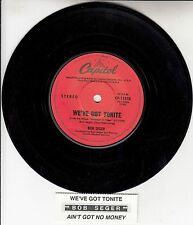"BOB SEGER  We've Got Tonite 7"" 45 rpm vinyl record + juke box title strip"