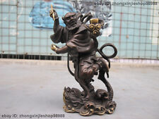 """8""""Chinese Folk Pure Red Bronze Bronze God Cut toad Monster Fish statue"""
