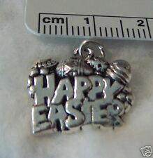 Sterling Silver 15x19mm says Happy Easter with Easter Eggs Charm