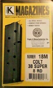 Colt 38 Super 1911 1911A1 8 Round Blued Steel Magazine by Triple K 18M