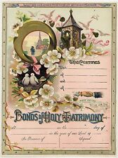 Rare Antique MARRIAGE WEDDING CERTIFICATE Matrimony Lithograph Beautiful Color