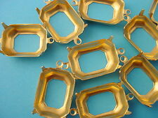 Brass Octagon Prong Settings 18x13 2 Ring Open Back -18 Pieces connectors