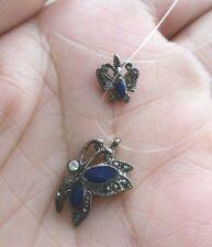 collier couleur argent papillons saphir fil transparent cristal diamant * 3861
