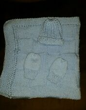 hand-knitted beautiful baby blanket and hat+mittens( softee baby pale blue)