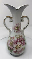 Original ARNART Japan Creation Ceramic Moriage White Vase Pink Floral Signed