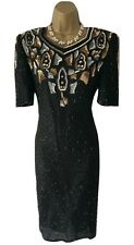 NWT Black Silk & Sequin Vintage Dress by Sudi House of Fraser Cruise Sz M UK 10