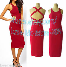 Sexy Casual Club Party Open Back Wiggle Pencil Slim Fit Bodycon Midi Dress LARGE
