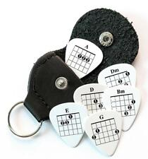 6 Chords Tab Guitar Picks Double Sided With Leather Plectrum Holder Keyring
