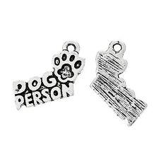 5 Tibetan Silver Dog Person Pendant Charms