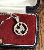 "Vintage Sterling Silver Taurus Bull Zodiac Pendant Necklace 17"" Chain (D8K3)"