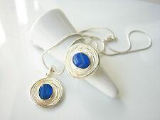 Australian Fire Opal Adjustable Ring & Pendant Necklace Set Sterling Silver