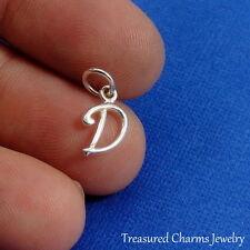 925 Sterling Silver Letter D Charm - Initial Script Cursive D Alphabet Charm NEW
