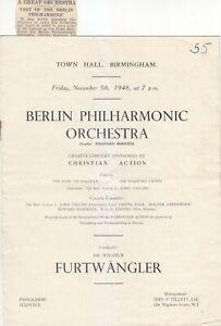 Concert Programme 1948 Wilhelm Furtwängler Birmingham with press cutting BPO