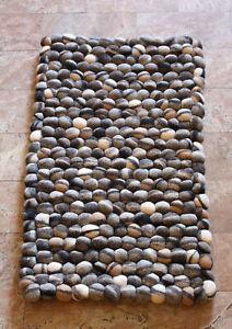 Brown and Gray River Pebbles Felt Ball Floor Mat
